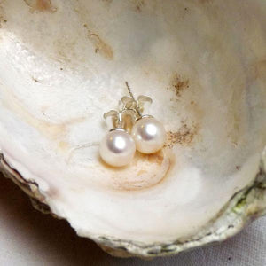 Freshwater white pearl stud earrings