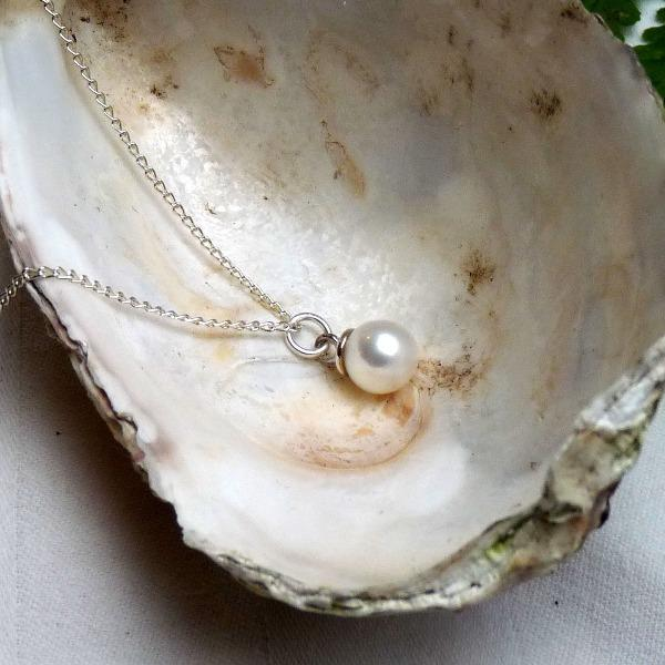 Classic Single Pearl Silver Necklace by Joy Everley