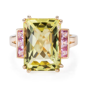 Gold Cocktail Ring, Lemon Quartz & Pink Sapphires by Joy Everley