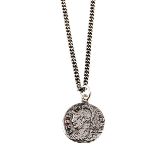 dark silver coin necklace