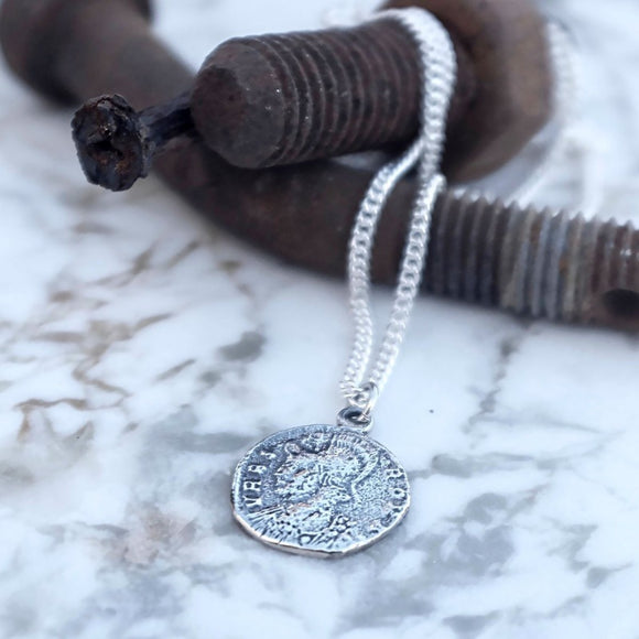 Silver roman coin necklace unisex