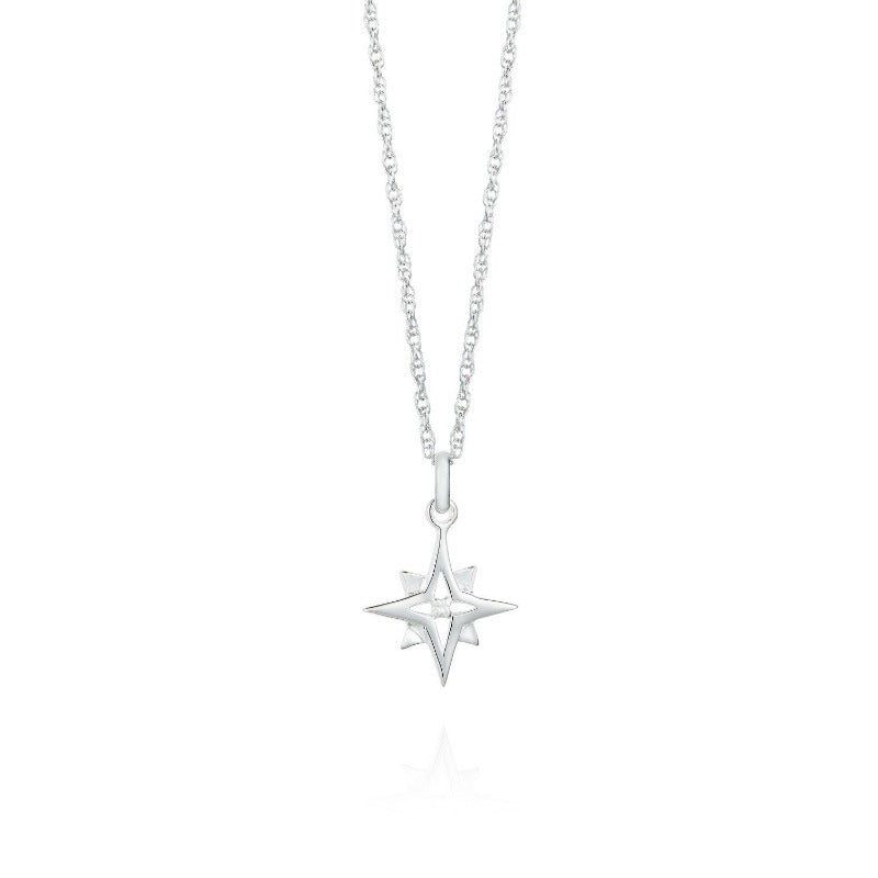 Compass Star Silver Necklace by Yasmin Everley