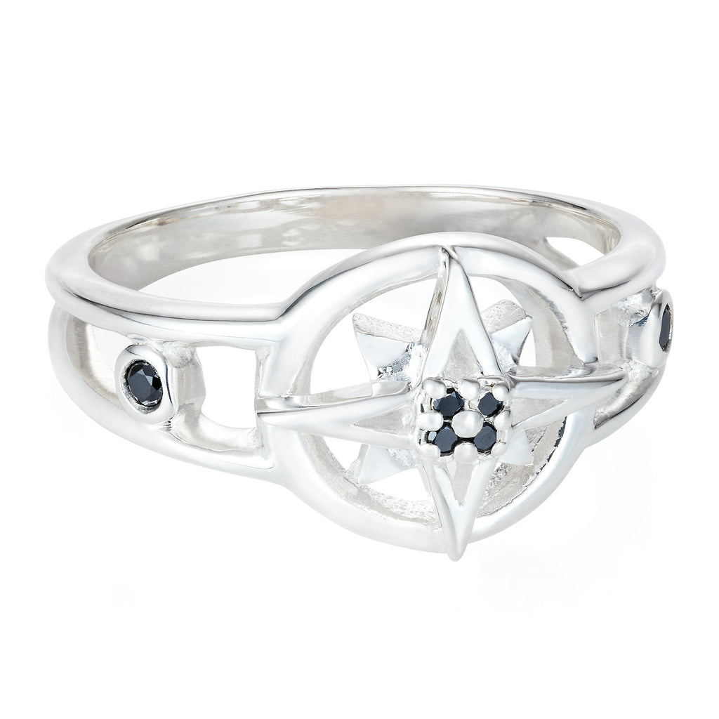 Compass Star Ring with Black Diamonds