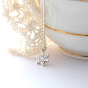 Silver and crystal flower pendant necklace