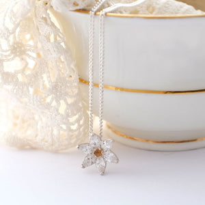 silver and cubic zirconia flower pendant necklace with citrine
