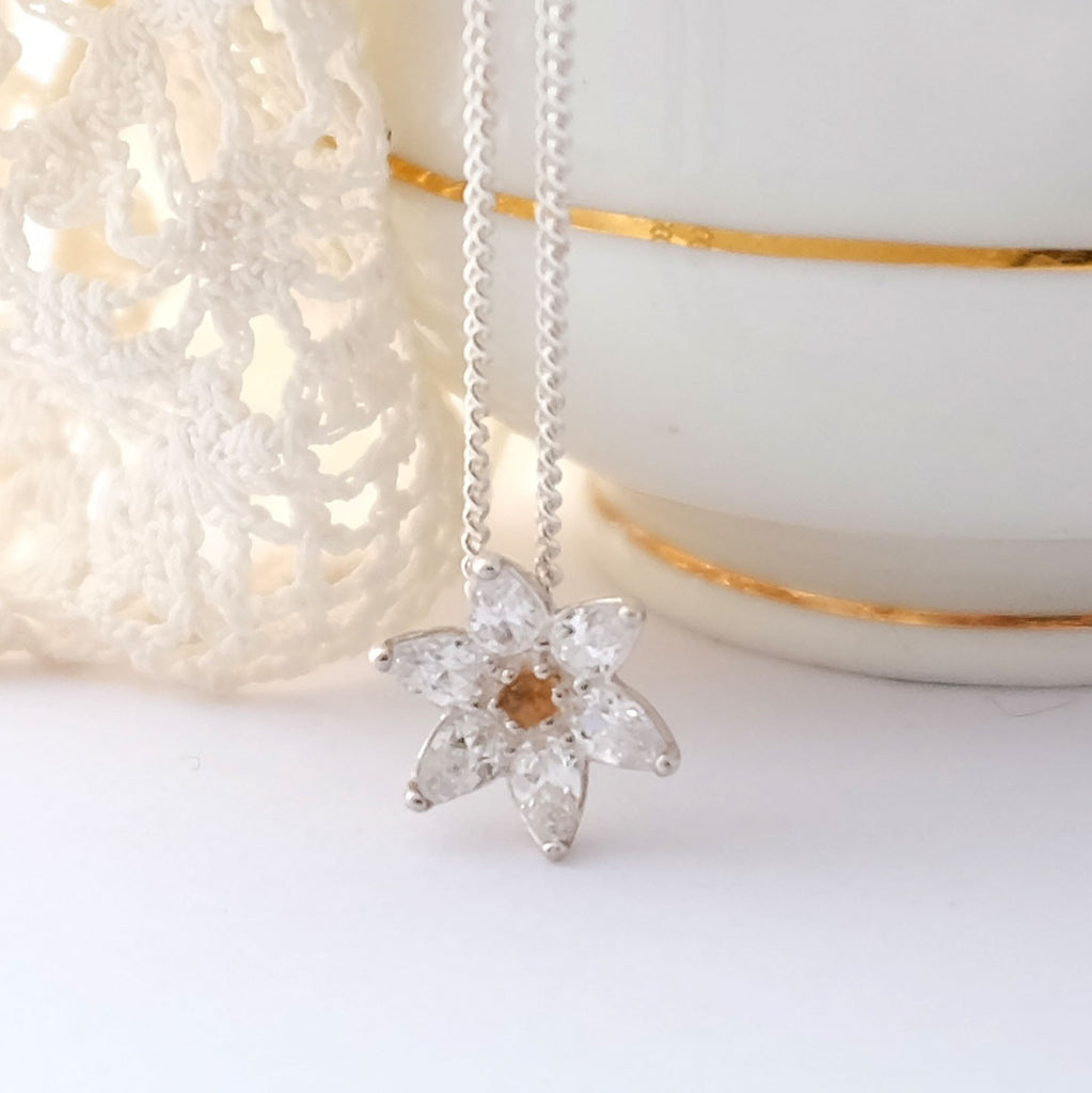 Silver and crystal flower pendant necklace with citrine
