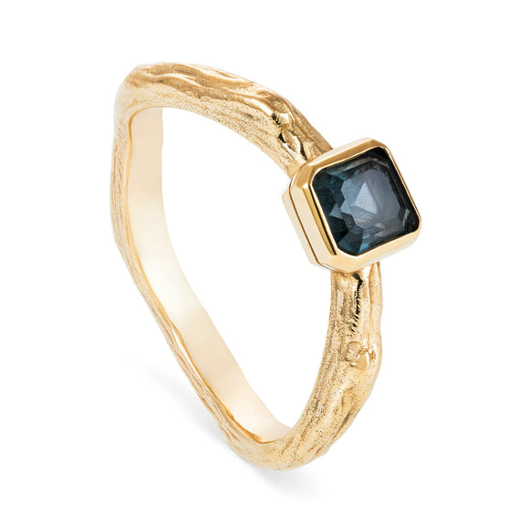Custom Gold and Sapphire Twig Ring - Joy Everley Fine Jewellers, London