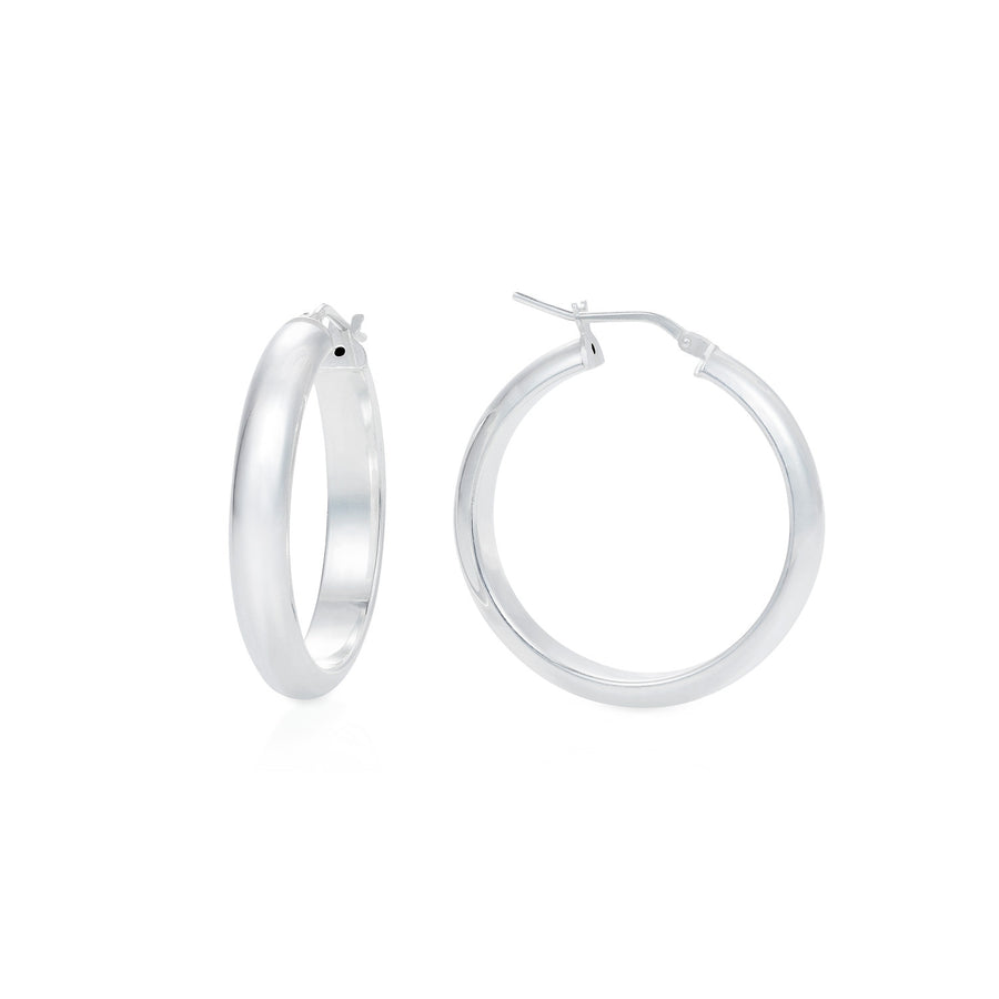 Silver d-section hoops on body