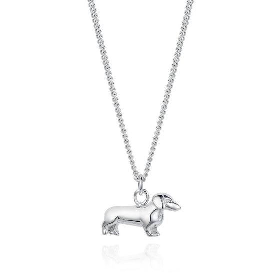 Silver Dachshund Pendant Necklace