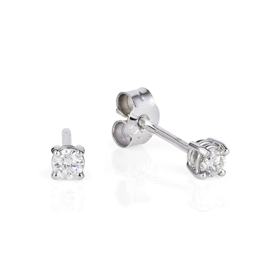 White Gold Diamond Ear Studs - Joy Everley Fine Jewellers, London
