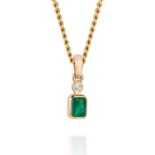 Emerald and Diamond Pendant Necklace - Joy Everley Fine Jewellers, London