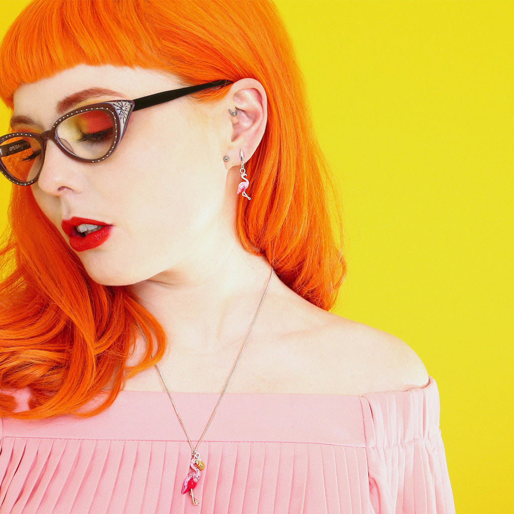 Forever Yours Betty wearing the Tropical Flamingo Necklace and Enamelled Flamingo Earrings