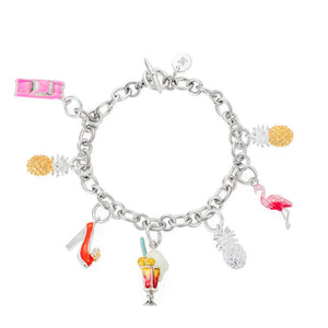 Enamel and Silver Tropical Retro Charm Bracelet