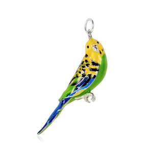 Silver and Enamel Budgerigar Charm
