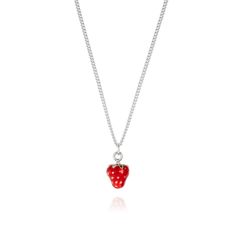 Enamelled Silver Strawberry Necklace