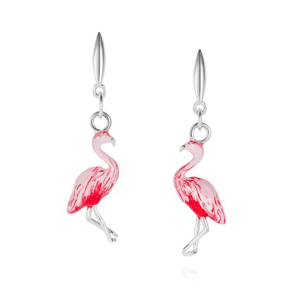 Silver flamingo drop earrings