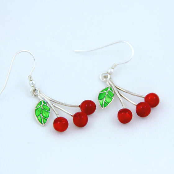 Enamelled cherry earrings