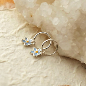 Forget Me Not Flowers on Little Silver Hoops by Joy Everley