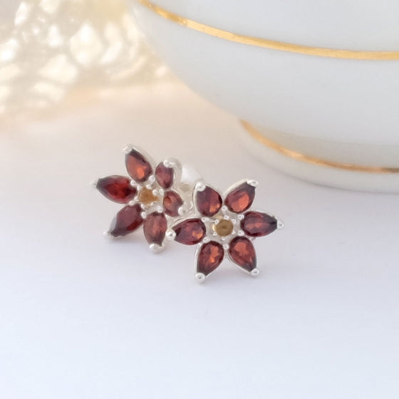 Silver and Garnet Flower Studs with Citrine