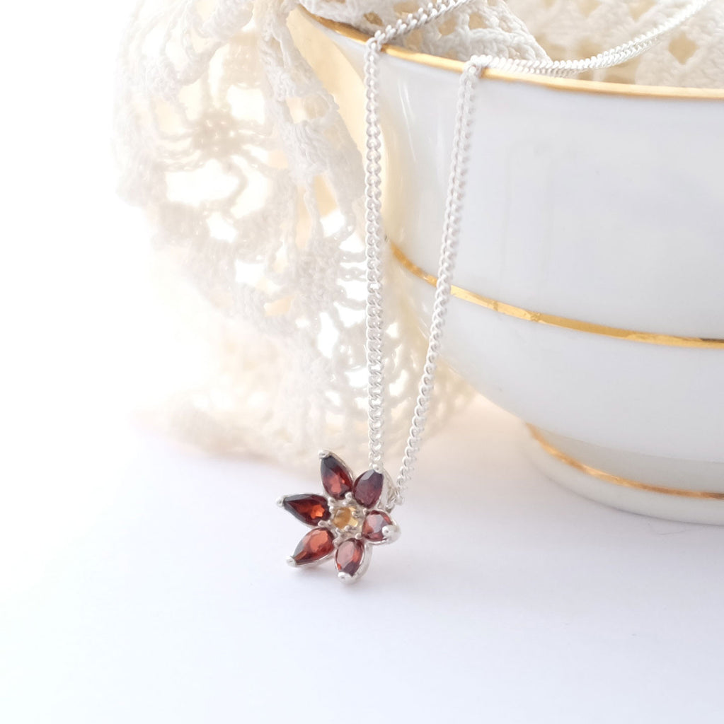 Silver and Garnet Flower pendant necklace with Citrine