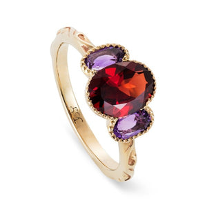 Baroque Amethyst & Garnet Trilogy Ring - Joy Everley Fine Jewellers, London