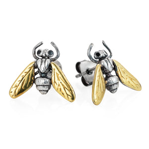 Gilded Hoverfly Studs - Joy Everley Fine Jewellers, London