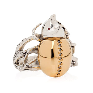 Gilded Rhino Beetle Ring - Joy Everley Fine Jewellers, London