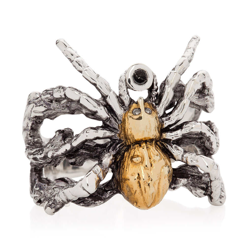 Gilded Spider Ring with black diamond and white diamonds