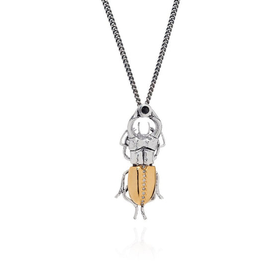Gilded Stag Beetle Necklace - Joy Everley Fine Jewellers, London