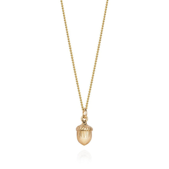 9ct solid gold acorn necklace