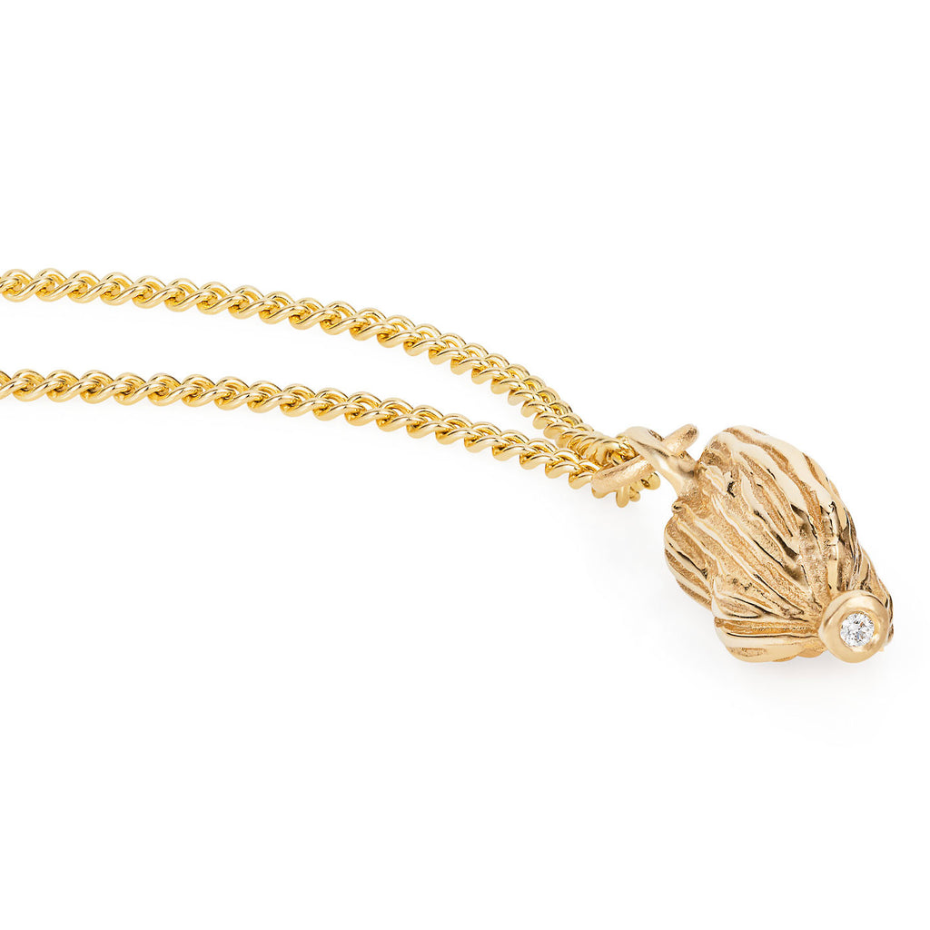 Gold Cardamom Pod & Diamond Necklace