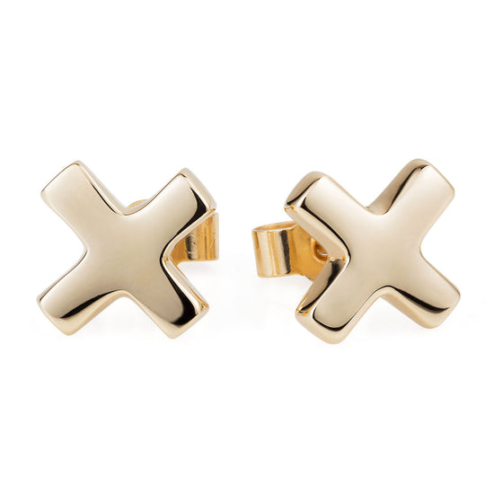 Gold Kiss Cross Ear Studs - Joy Everley Fine Jewellers, London