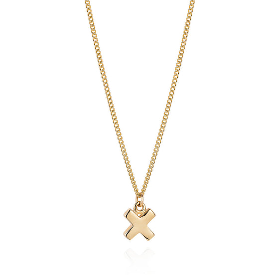 Gold Kiss Cross Necklace - Joy Everley Fine Jewellers, London