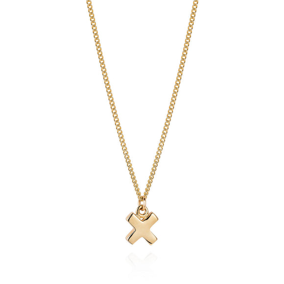 Gold Kiss Cross Necklace