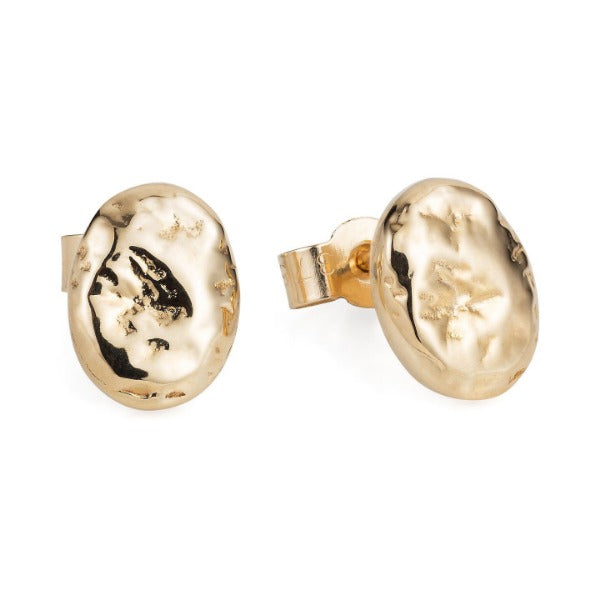 Gold Rough Pebble Ear Studs - Joy Everley Fine Jewellers, London