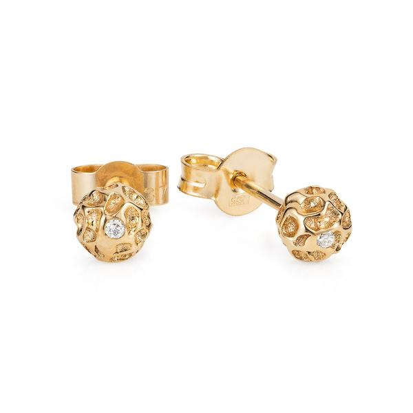 Vermeil Diamond Peppercorn Ear Studs - Joy Everley Fine Jewellers, London