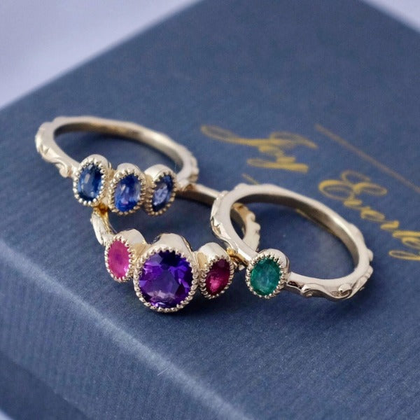 Solid Gold Baroque Sapphire Trilogy Ring by Joy Everley