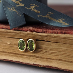 Solid Gold Baroque Peridot Earrings by Joy Everley