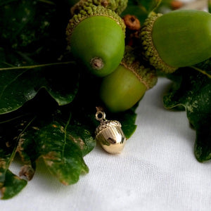 Solid Gold Acorn Charm