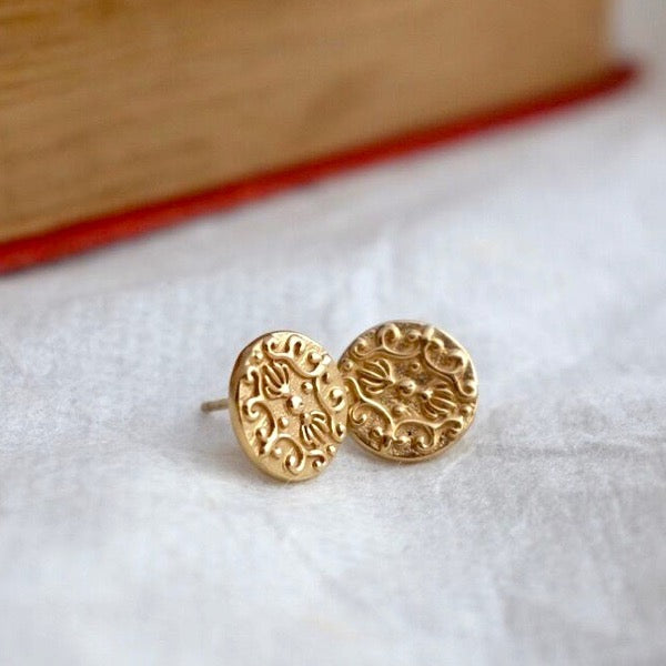 Gold Baroque Ear Studs