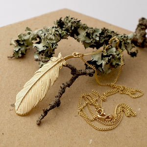 Solid Gold Buzzard Feather Necklace