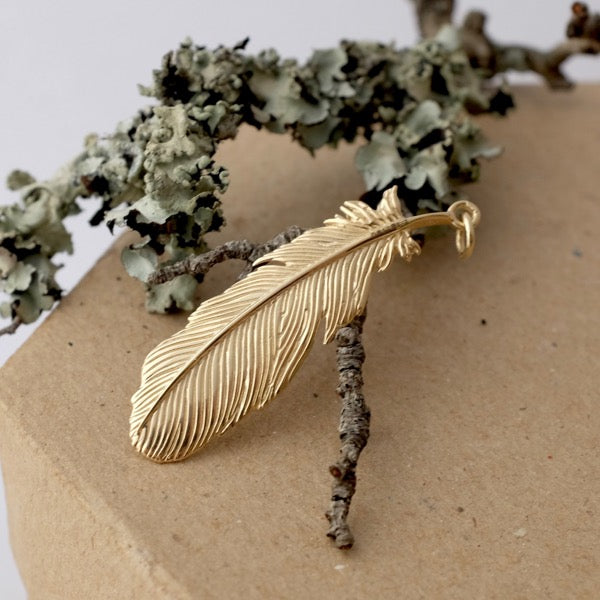 Solid Gold Buzzard Feather by Joy Everley