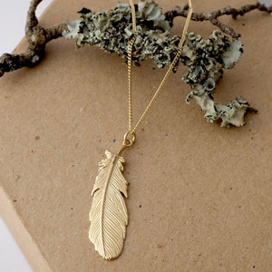 Solid Gold Buzzard Feather Necklace by Joy Everley