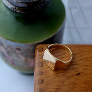 Gold JE Signet Ring