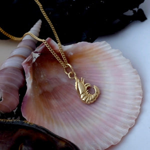 Solid Gold Shrimp Necklace by Joy Everley