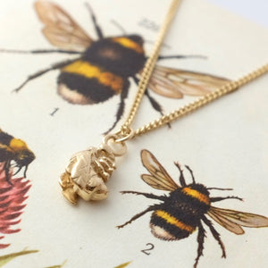 Solid Gold Tiny Bumble Bee Necklace by Joy Everley