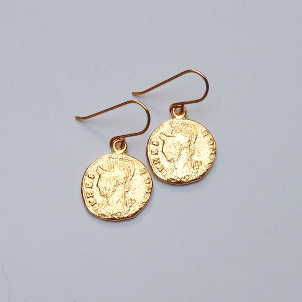 Vermeil Roman Coin Drop Earrings