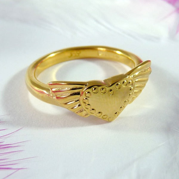 Vermeil Winged Heart Ring - Joy Everley Fine Jewellers, London