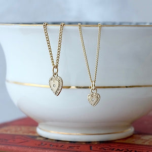 Diamond Tiny Heart Solid Gold Necklace by Joy Everley