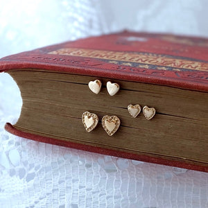 Simple Heart Solid Gold Ear Studs by Joy Everley